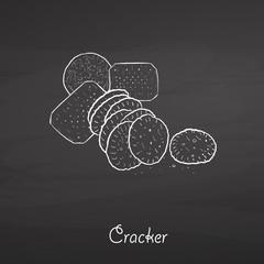 Cracker food sketch on chalkboard