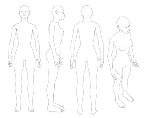 Set with contours of the naked girl. Girl with different types of black lines. Front, back, side and isometric view. Vector illustration