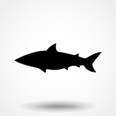 Vector illustration of shark based on hand-drawn sketch. Black silhouette isolated on white background. Perfect for t-shirt design, poster, banner.
