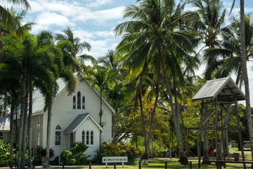 St Mary's by the sea church in Port Douglas city surrounded by palm trees, Queensland. Australia.