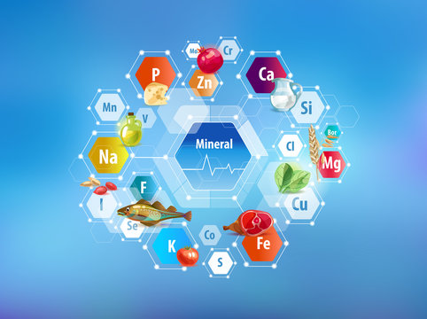 All minerals for human health and food. Abstract scheme.