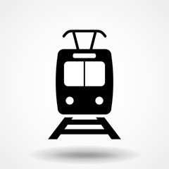Tram icon. Event pictogram, flat vector sign isolated on white background. Simple sign for mobile concept and web design. Vector illustration.