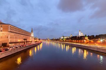 Moscow Kremlin embankment in the summer evening, Overcast, rainy night