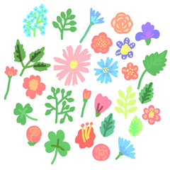 Set of colorful simple flowers icon. Vector illustration.