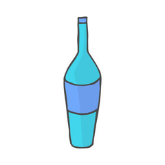 Color bottle doodle icon. Vector illustration isolated on white background.