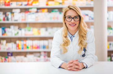 Portrait of a beautiful young female pharmacist.