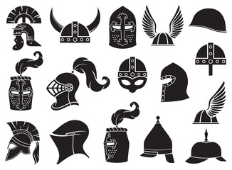 Military helmets vector icons set (ancient Roman, Gallic, Norman, viking, Greek or Spartan warrior, medieval knight)