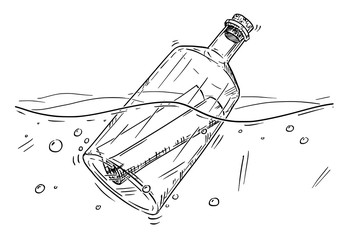 Cartoon drawing illustration of paper message in old glass bottle floating in ocean.