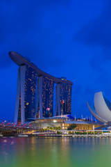 Aluminium Prints Singapore Marina Bay Sands at night the largest hotel in Asia.