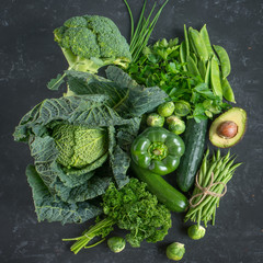 Green vegetables and herbs selection