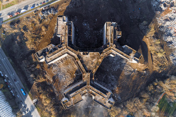 Unfinished and abandoned building of the city hospital. Aerial view