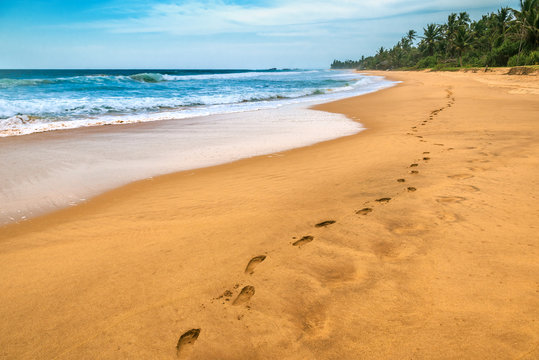 human tracks on the shore of the ocean