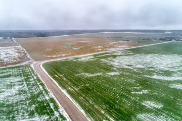 Agricultural field under the snow.