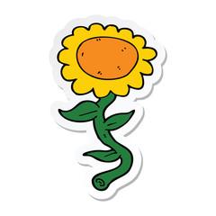 sticker of a cartoon sunflower