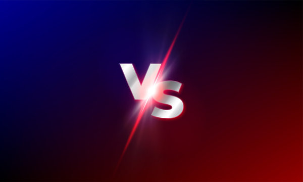 VS versus vector background. Red and blue mma fight competition VS light blast sparkle template