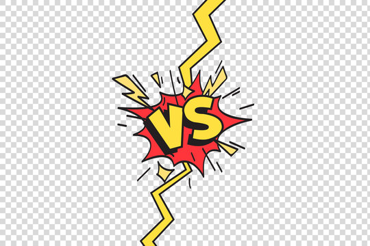 Comics vs frame. Versus lightning ray border, comic fighting duel and fight confrontation isolated cartoon vector background
