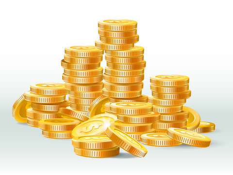 Golden coins pile. Gold coin dollar, money stack and gold cash heap realistic vector illustration