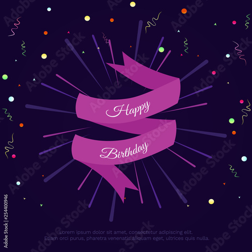 Vector Illustration With Confetti Ribbon And Text Happy