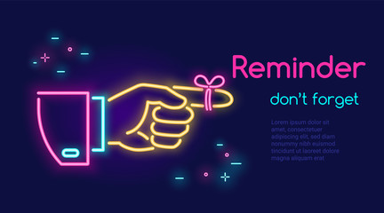 Human hand pointing finger and red tape on the finger in neon light style with text reminder dont forget on dark purple background