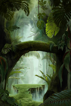 inside a deep mystical jungle canyon, can be used as background, wallpaper