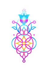 Geometric acid neon color symbol of harmony. Eastern style