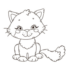 Cute cartoon cat. Coloring book page for children.