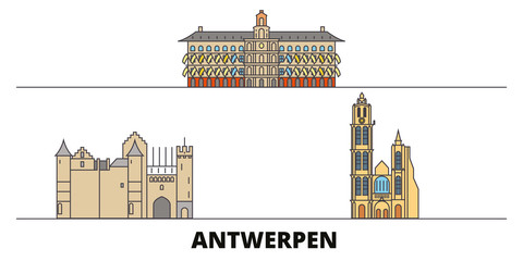 Belgium, Antwerpen flat landmarks vector illustration. Belgium, Antwerpen line city with famous travel sights, design skyline.