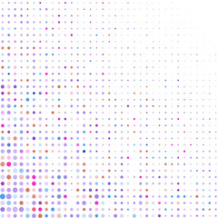 Colored dots on white background