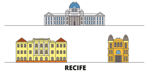 Brazil , Recife flat landmarks vector illustration. Brazil , Recife line city with famous travel sights, design skyline.
