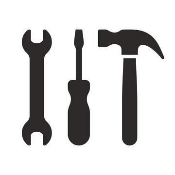 Wrench, screwdriver and hammer, tool icon set