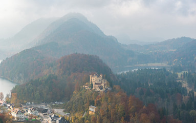 Hohenschwangau Castle with Autumn colors, Fussen, Germany