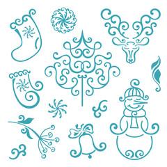Vector set of ornate Christmas icons. Christmas tree, snowflake, bell, snowman, bird, deer. Set of Christmas design elements.