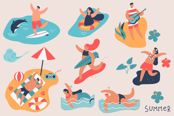Summer people vector cartoon character set. Man and woman on the beach, swim in the ocean, surf, sunbathing isolated on background.