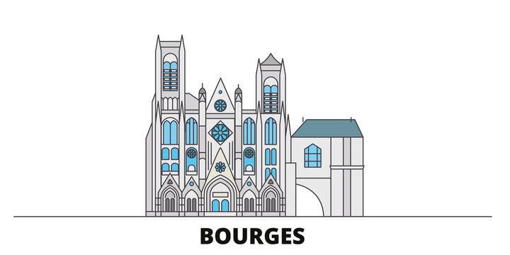 France, Bourges flat landmarks vector illustration. France, Bourges line city with famous travel sights, design skyline.