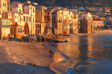 Cefalu at sunset, Sicily, Italy