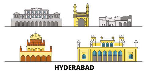 India, Hyderabad flat landmarks vector illustration. India, Hyderabad line city with famous travel sights, design skyline.  Fototapete