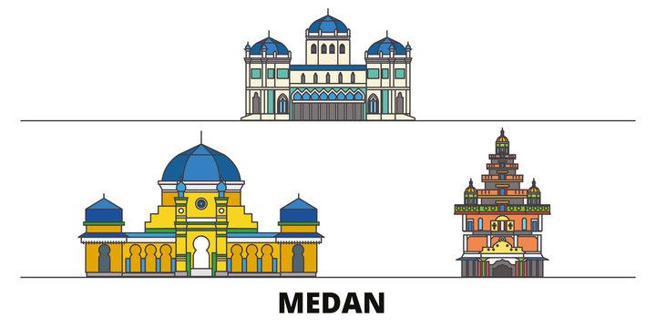 Indonesia, Medan flat landmarks vector illustration. Indonesia, Medan line city with famous travel sights, design skyline.