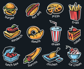 collection with illustrations of fast food isolated on dark background