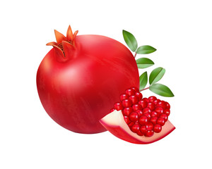 Vector pomegranates realistic with leaves isolated on a white background