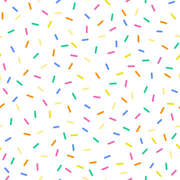 Seamless sprinkles pattern with candy colors