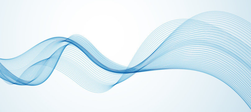 Wave line of flowing particles abstract vector background, smooth curvy shape dots fluid array. 3d shape dots blended mesh, future technology relaxing wallpaper.