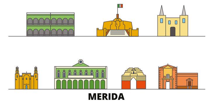 Mexico, Merida flat landmarks vector illustration. Mexico, Merida line city with famous travel sights, design skyline.