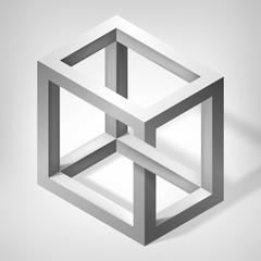 3D unreal cube shape. Illusion abstract forms. Nonexistent figure. Vector fantastic construction
