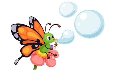 Beautiful butterfly blowing bubbles vector illustration