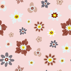 Folk floral seamless pattern in trendy modern style. Colorful wildflowers, chamomiles isolated on a light background. Perfect for textile, background, paper.