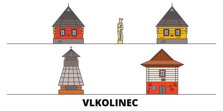 Slovakia, Vlkolinec flat landmarks vector illustration. Slovakia, Vlkolinec line city with famous travel sights, design, skyline.