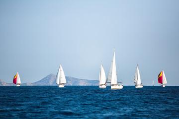 Wall Mural - Sailing yacht boats at the Aegean Sea. Sailboats Regatta.
