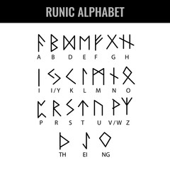Runic Alphabet and its Latin letter interpretation. Vector illustration.