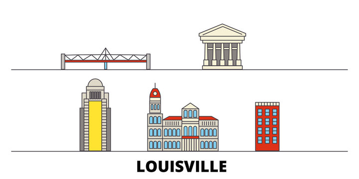 United States, Louisville flat landmarks vector illustration. United States, Louisville line city with famous travel sights, design skyline.