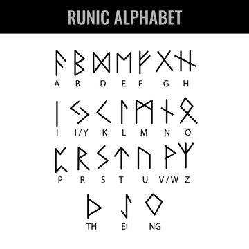 Runic Alphabet and its Latin letter interpretation. Vector illustration.